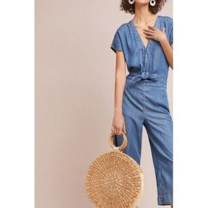 Anthropologie Splendid Bow-Tied Chambray Jumpsuit